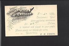 "CLEVELAND, OHIO 1894, GPC, ILLUST ADVT.  E.R. EDSON, ""FRESH SALT & FROZEN FISH."""