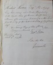 LISTON, SIR ROBERT 2nd British Minister to the United States 1796-1802 Autograph