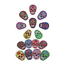 16pc Sugar Skull Sew on Clothes Patches Badge DIY Applique for Garment Shoes