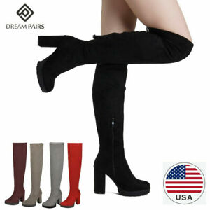DREAM PAIRS Women's Fashion Over The Knee Chunky High Heel Thigh High Boots