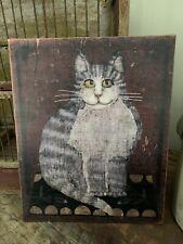 Folk Art Primitive Tabby Cat On 8x10 Canvas