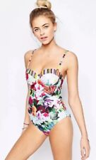 6f52acb524 TED BAKER FRORAL IMARI SWIRL RUNCHED SWIMSUIT 32 DD / E BNWT