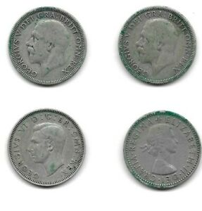 4 One Shilling coins 1931 1933 1944 1960