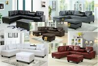New Pu Leather Living Room Sectional Sofa Set in Black/White/Grey/Brown/Red