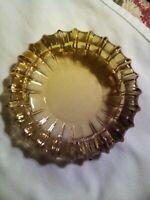 Mid Century Amber Glass Ashtray Cigarette Cigar Large Sunburst Design