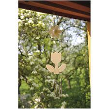 Windspiel Tulpe Holz Bastelsatz Blume Frühling Windbote mit Klangstäben NEU