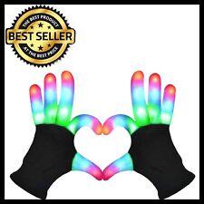 LED Flashing Gloves Glow 6 Mode Light up Finger Tip Lighting Pair Black