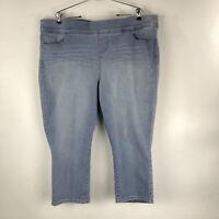 Torrid Lean Jean Crop Plus Size 3 Light Wash Slip On Stretch Denim Jeans