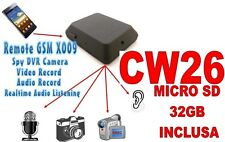 MICROSPIA GSM X009 SPIA AUDIO VIDEO INTERCETTAZIONE AMBIENTALE + SD32GB CW26