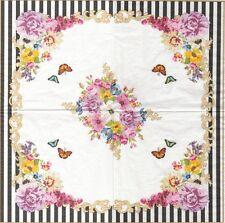 2 Serviettes en papier Fleurs Glamour - Paper Napkins Flowers