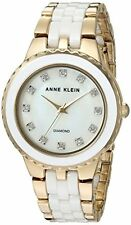 Anne Klein Women's AK/2712WTGB Diamond-Accented Gold-Tone & White Ceramic Watch