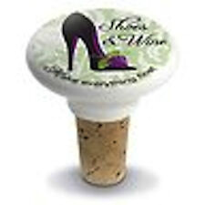 NEW Printed Shoes & Wine Ceramic Top Wine Bottle Stopper w/ Real Cork