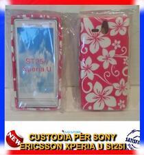 Pellicola+Custodia cover case SFONDO ROSA FIORI BIANCHI per ST25i Sony Xperia U