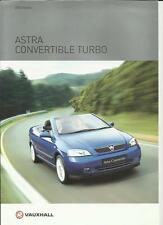 VAUXHALL ASTRA CONVERTIBLE TURBO SALES BROCHURE 2002 2003
