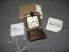 Vintage SEIKO leather travel clock