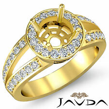 Diamond Engagement Round Semi Mount Ring Pre-Set VS1-VS2 14k Yellow Gold 0.55Ct