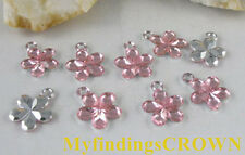 500 pcs Pink flower acrylic charms W1755