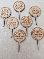 Personalised Rustic Wooden Cupcake Toppers Wedding, Birthday, Engagement, Party