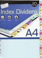20 A-Z Index Dividers / abc alphabetical Order A4 Universally Punched Strong