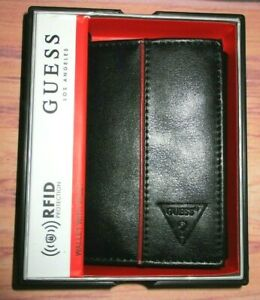 MENS GUESS TRIFOLD BLACK WALLET WITH ORIGINAL GIFT BOX