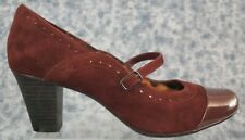 Clarks Burgundy Size 10M Womens  Casual Leather Strap up Heel