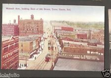 Vtg Postcard Wabash Ave East of 8th Street Terre Haute Ind Indiana Early IN