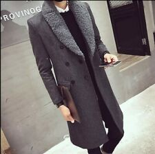 Winter Men's Woolen Jacket Thick Outwear Trench Coat Double Breasted Quilted New
