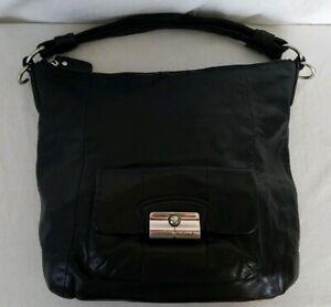 Coach Kristin 14783 Black Leather Shoulder Bag Handbag Pocketbook Purse