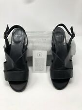 NEW Aquatalia Tully Calf Black Leather Ankle Strap Open Toe Short Heels Size 8M