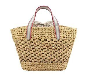 Cath Kidston Straw Basket Bag With Floral Flower Print Insert Drawstring Bag