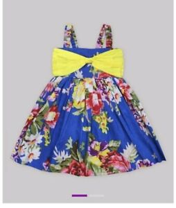 Beautiful A.T.U.N Party, Holiday Dress, Blue Yellow & Floral Pink 9-10 years