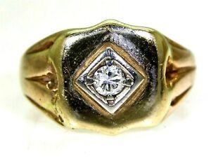Art Deco 0.10ct Diamond Signet 9ct Rosey Yellow Gold Ring K ~ 5 1/4