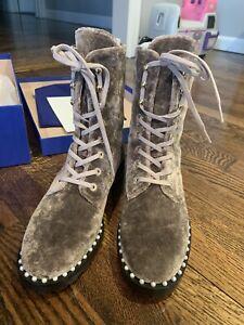 stuart weitzman boots Womens Allie Sz 5 Combat Military Brown Rose Sport Velvet