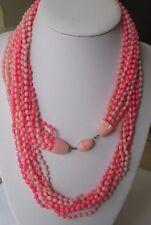 collier vintage rose parme 9 rangées petites perles attache perle cachée 518