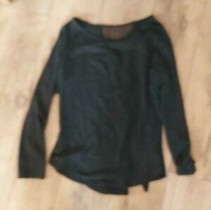SHEIN - Womens Black Netted and part split back Gym Top. Size L. vgc.