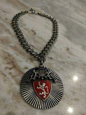 Vintage Signed Barclay W Red Enamel Lion Crest Necklace Choker