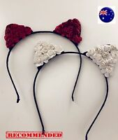 Women Girl Kitty Ear Flower Rose Party Hair Head Band hairpiece Headband Hoop