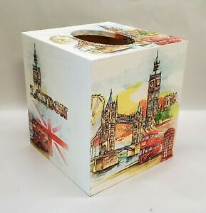 Made To Order, Handmade Decoupage Wood Tissue Box Cover, London