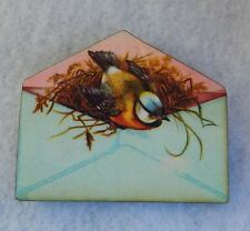 Bird in Envelope Brooch or Scarf Pin Accessories Handmade NEW Wood Fashion