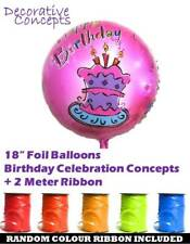 """18"""" Buon Compleanno Festa Elio Foil Balloon VIOLA torta + Curling Ribbon"""