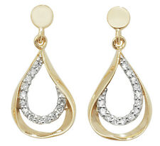 9 carat Yellow Gold Cubic Zirconia Drop Stud Ladies Earrings FREE UK SHIPPING