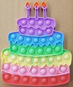 Rainbow Birthday Cake Push it Bubble Pop Fidget Sensory Toy ADHD Di-Stress Toys