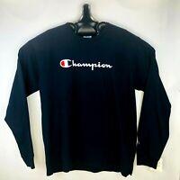 NEW Champion Men's Long Sleeve Spell Out Script Logo XXL 2XL T-Shirt Blue