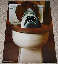 Vintage 1970's Jaws Shark Coming Out Of Toilet Poster Celestial Arts Head Shop