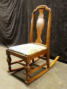 Antique Vintage Old SOLID Walnut Wood Wooden Child Children's Kids Rocking Chair