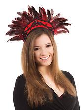 Black Red Feather Carnival Headdress Mardi Gras Fancy Dress Costume Accessory