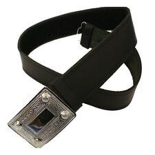 "Tartanista Scottish Black Leather Kilt Belt & Buckle One Size Adjusts 28"" - 50"""
