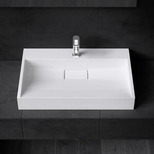 Durovin Bathrooms White Sink Wall Hung Countertop Stone Resin Basin Only 500mm