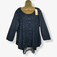 NEW Italian Tunic Top Blue Lace Lagenlook Womens UK Plus Size 16 18 20