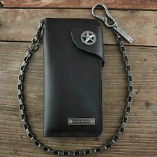Genuine Leather star Snap Card Money Men's Long Wallet With chain